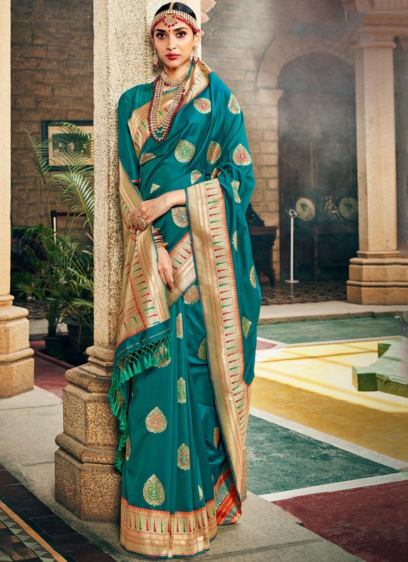 Dilettante Weaving Teal Art Silk Designer Saree