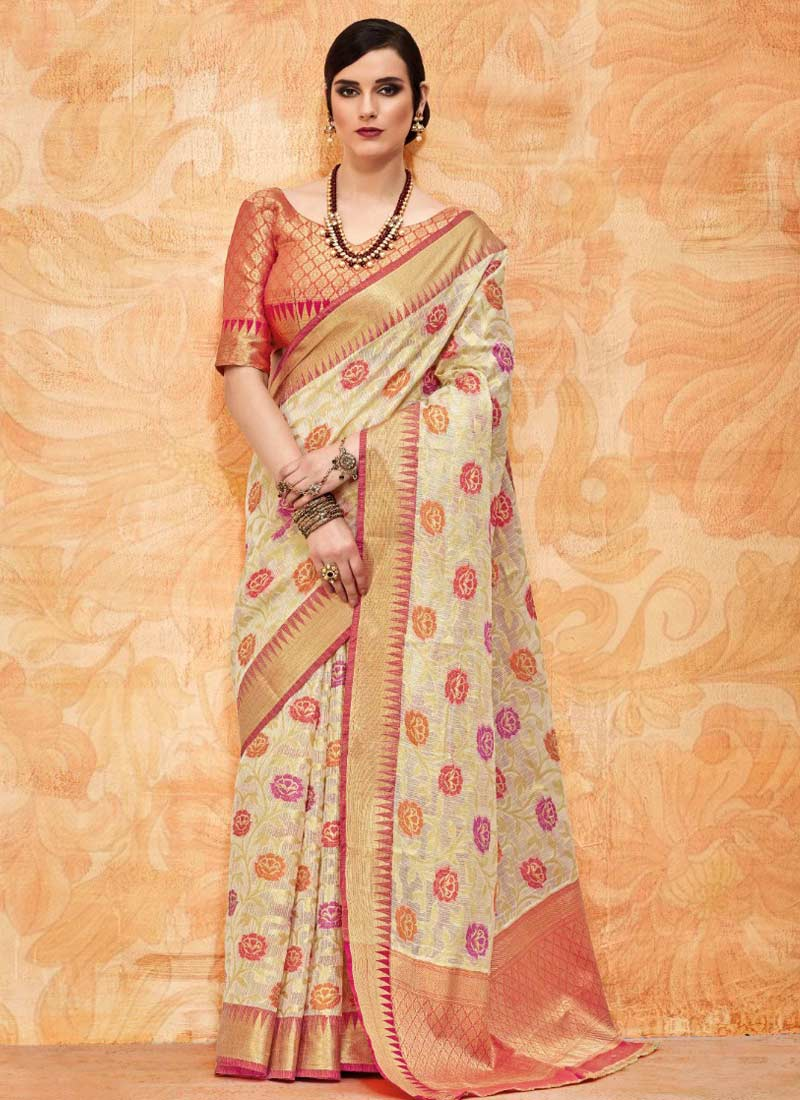 Distinctive Handloom silk Thread Beige Classic Saree