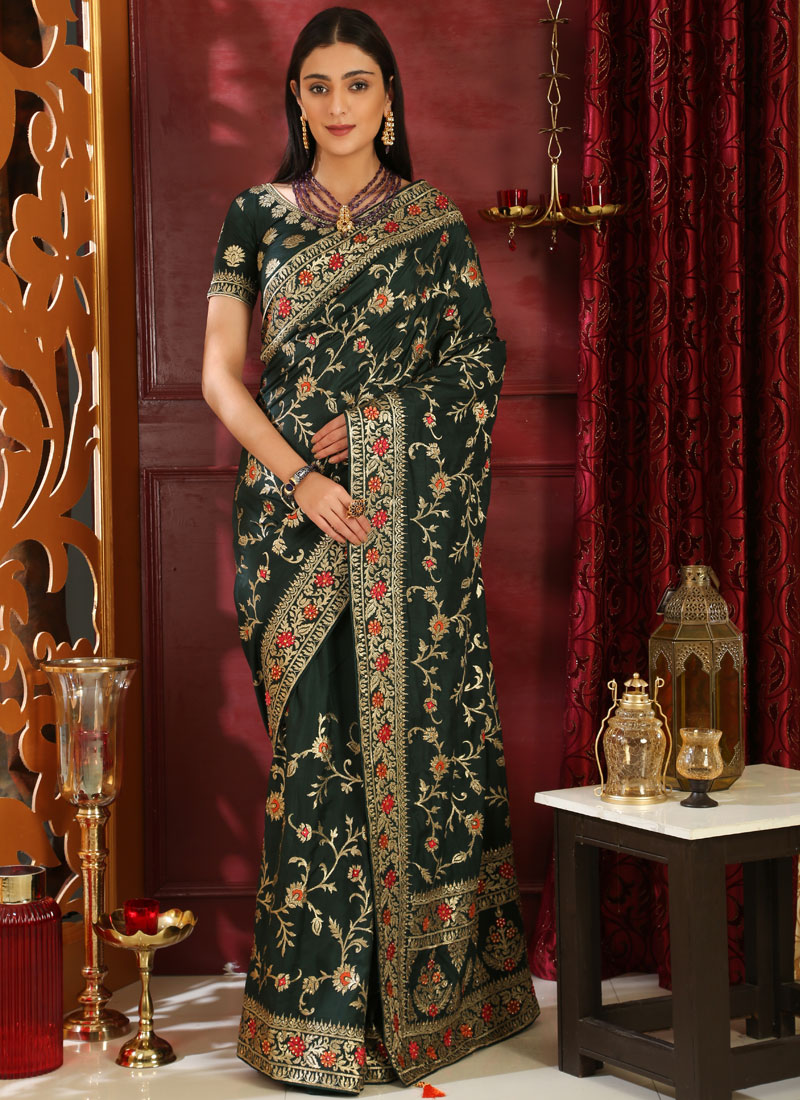 Distinctive Stone Work Green Art Silk Classic Saree