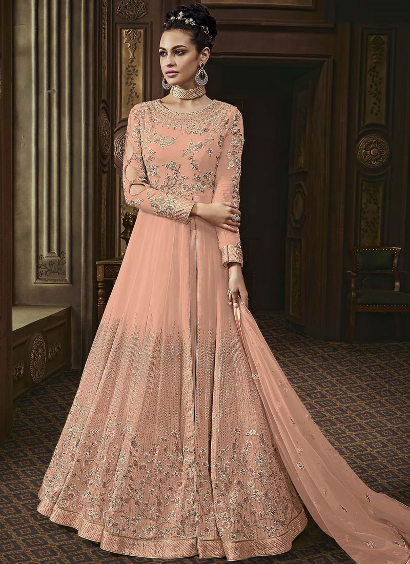 Distinctively Peach Embroidered Faux Georgette Trendy Anarkali Salwar Suit