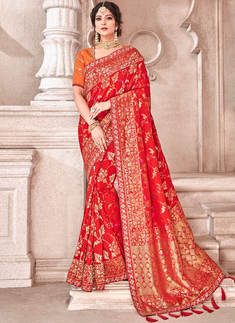 Distinguishable Red Wedding Designer Traditional Saree