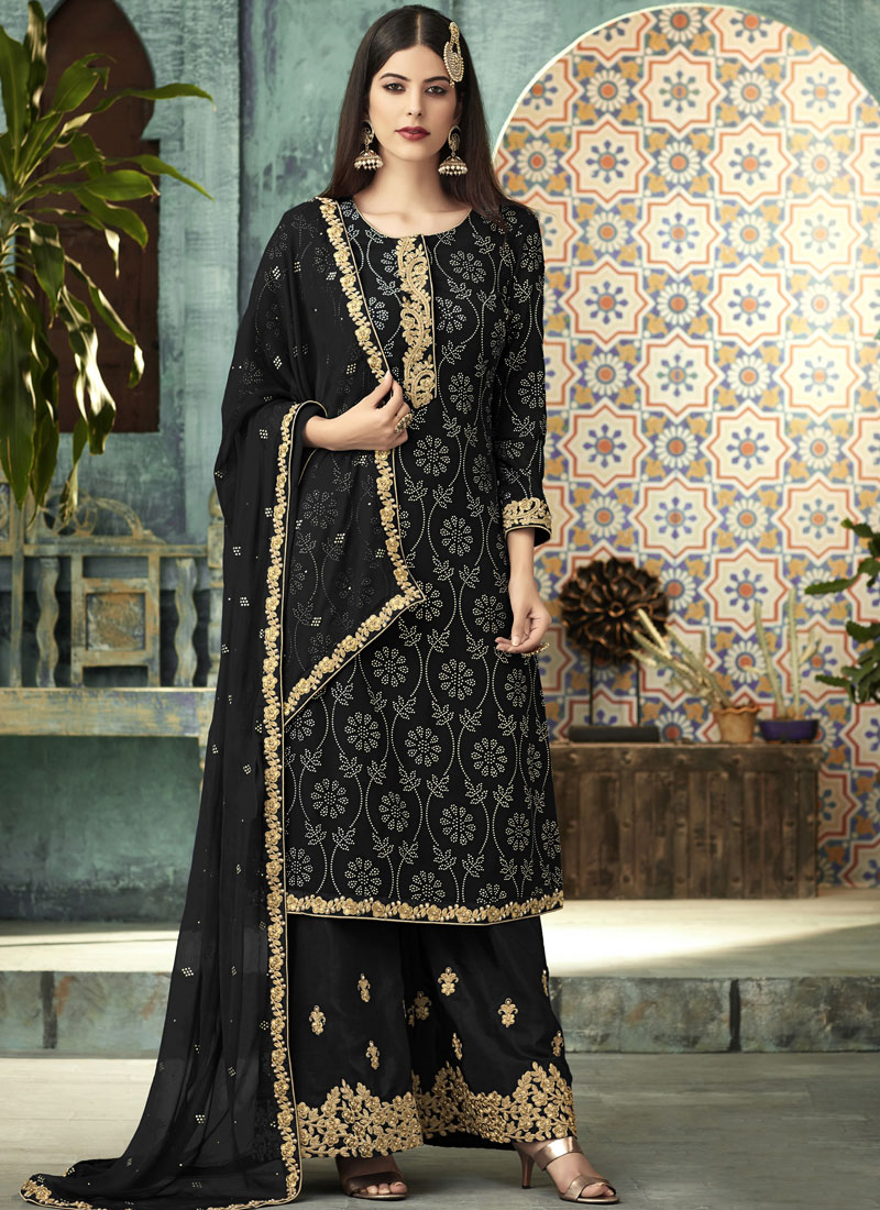Divine Embroidered Art Silk Black Designer Palazzo Salwar Suit