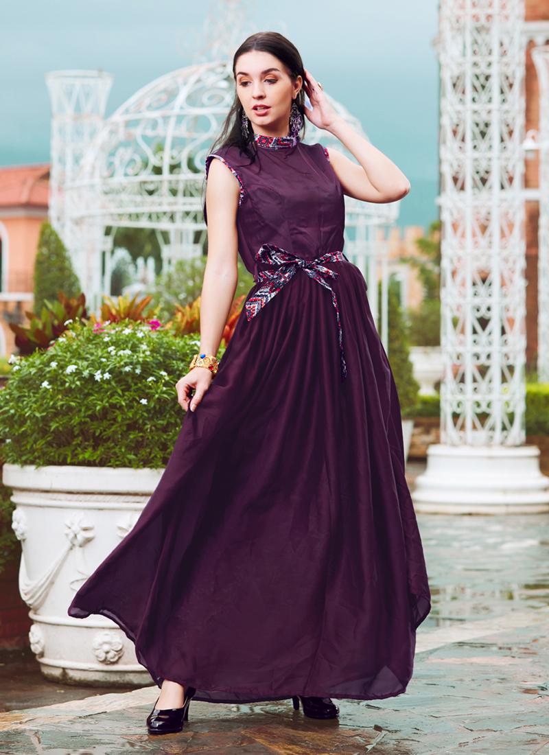 Divine Fancy Crepe Silk Purple Readymade Gown