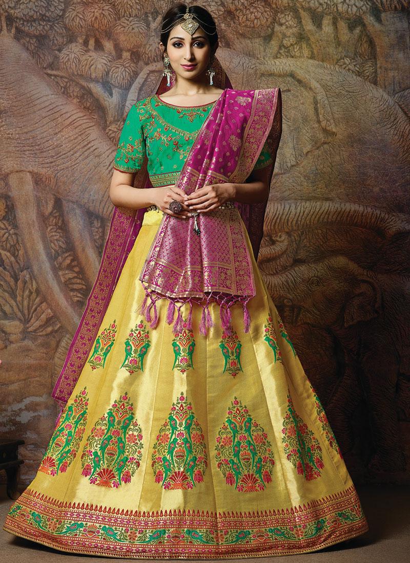 Divine Silk Wedding Designer Lehenga Choli in yellow