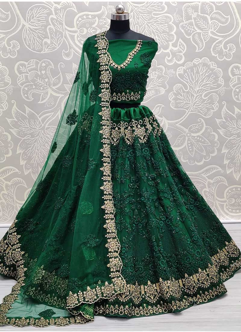 Dori & Thread Work On Net Lehenga Choli In Green