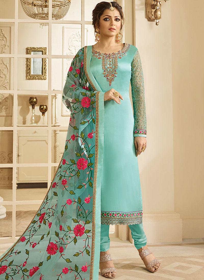 Drashti Dhami Blue Resham Churidar Designer Suit