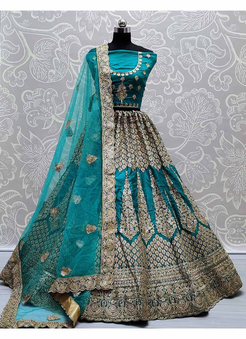 Elegance Teal Silk Fabric Very well Embroidered Coral Bridal Lehenga choli