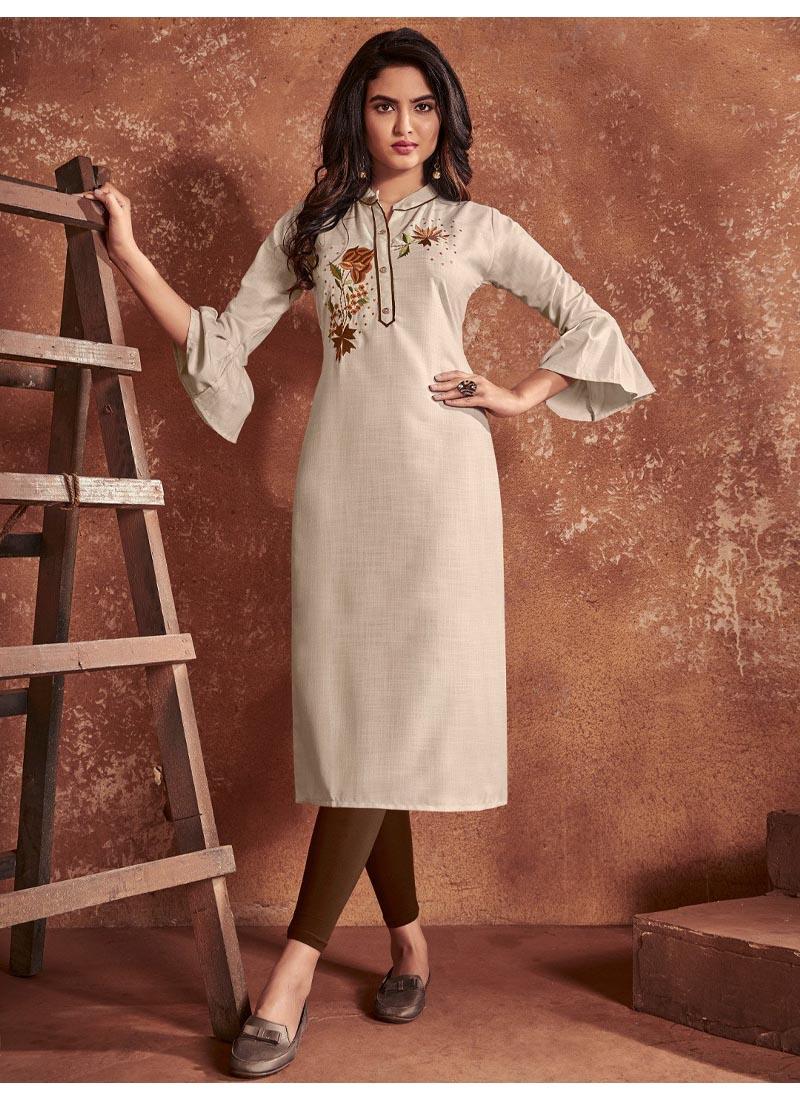 Elegant Off White Cotton & Heavy Embroidery Work Balloon Slives Kurti