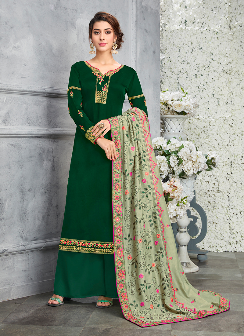 d4752db9b6 Elite Green Ceremonial Designer Pakistani Suit. Hover to zoom