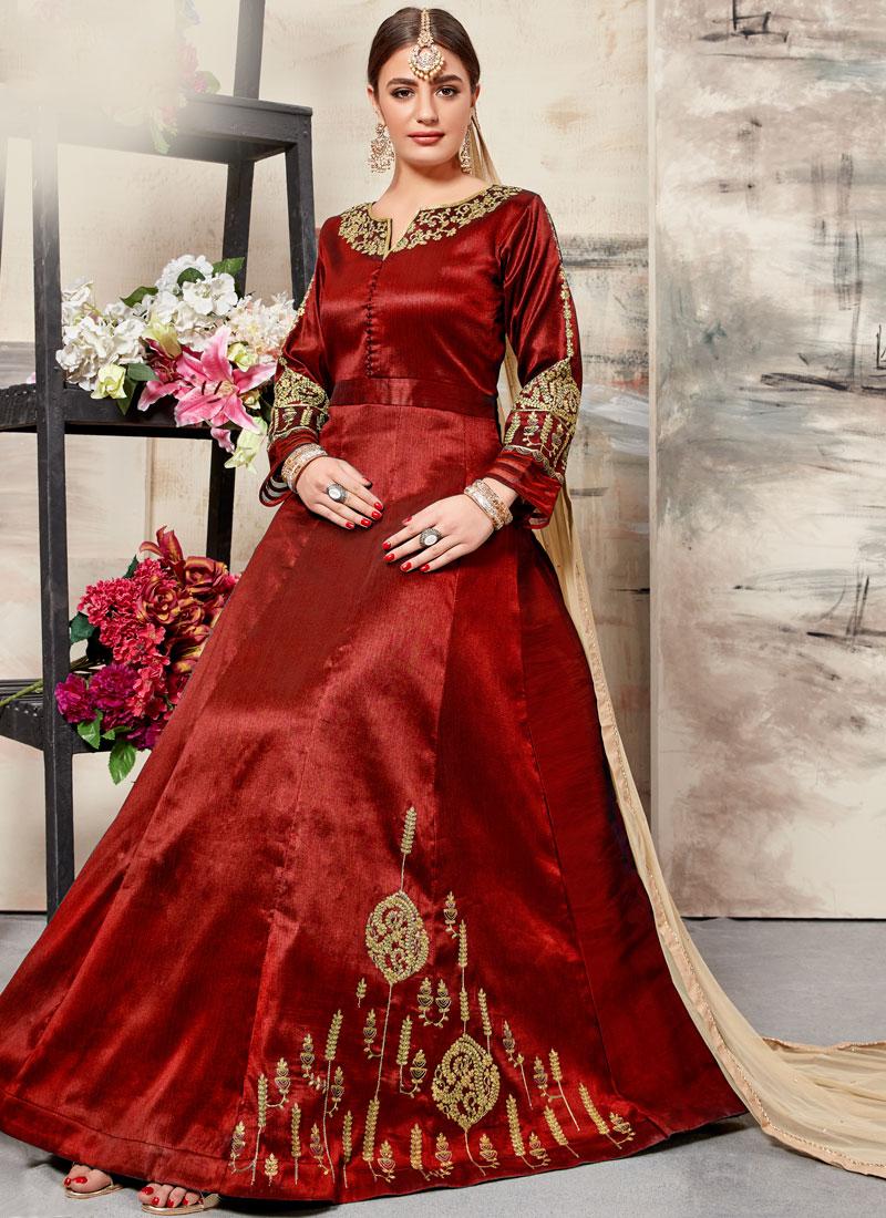Embroidered Art Silk Floor Length Anarkali Suit in Maroon
