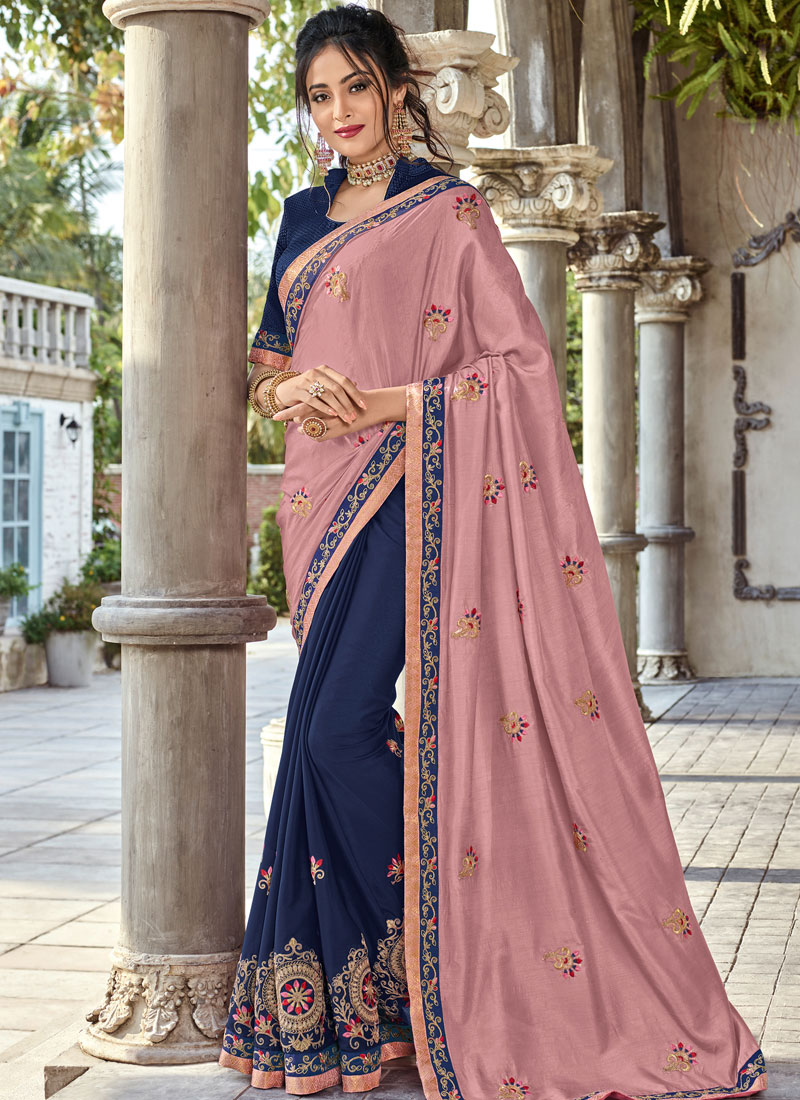 4fa5ebe3d2198b Embroidered Art Silk Half N Half Saree in Navy Blue and Pink. Hover to zoom