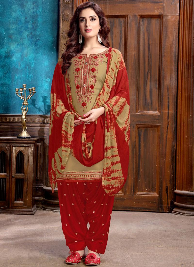 Embroidered Cotton Designer Patiala Salwar Kameez in Cream