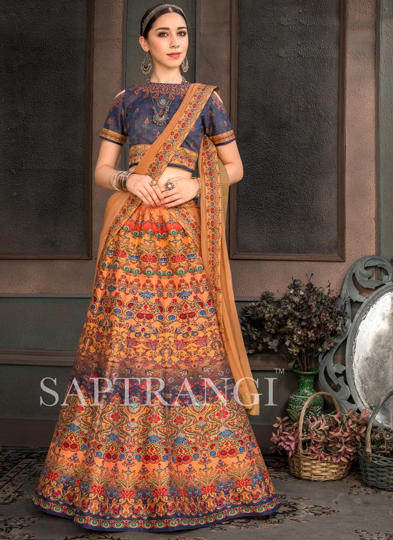 Embroidered Fancy Fabric Lehenga Choli in Multi Colour
