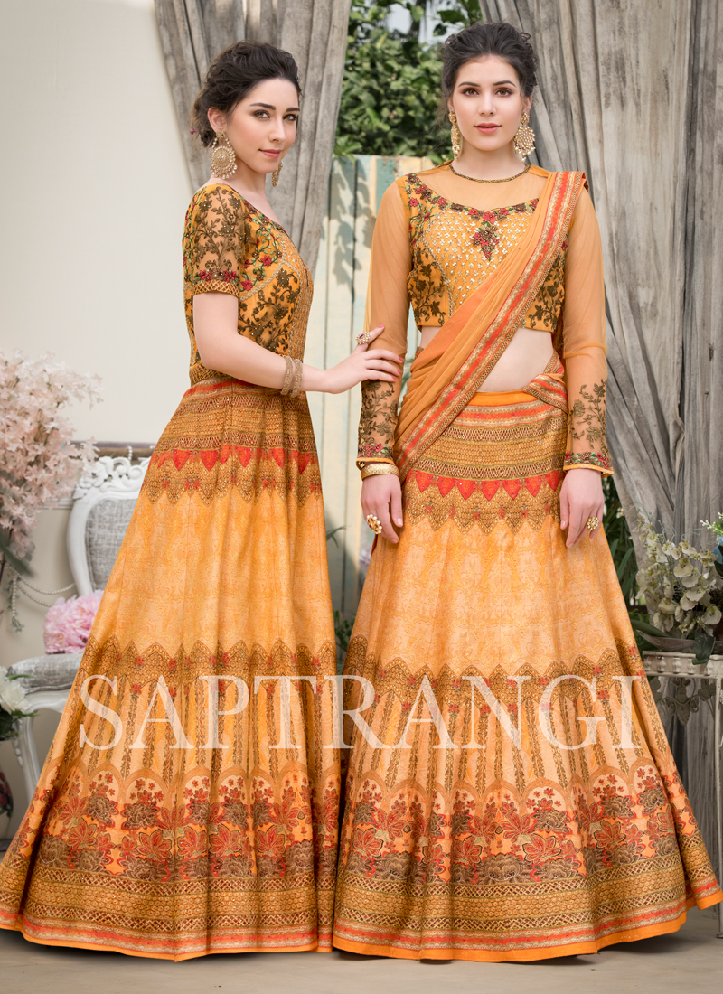 Embroidered Fancy Fabric Lehenga Choli in Peach