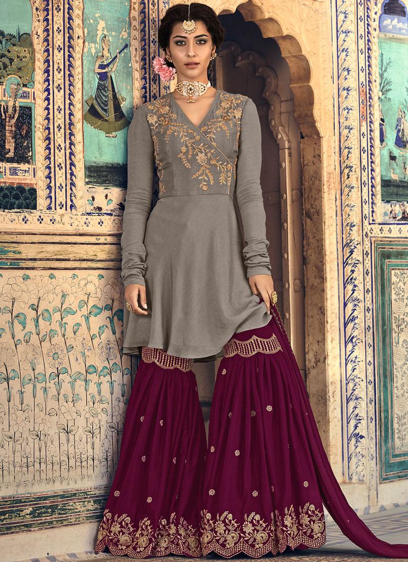 Embroidered Georgette Designer Palazzo Salwar Suit in Grey