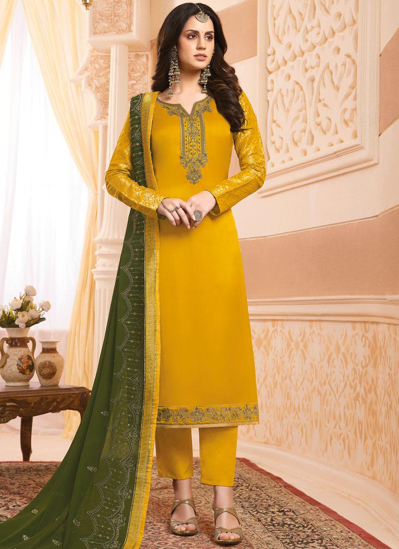 Embroidered Georgette Satin Designer Salwar Suit in Mustard