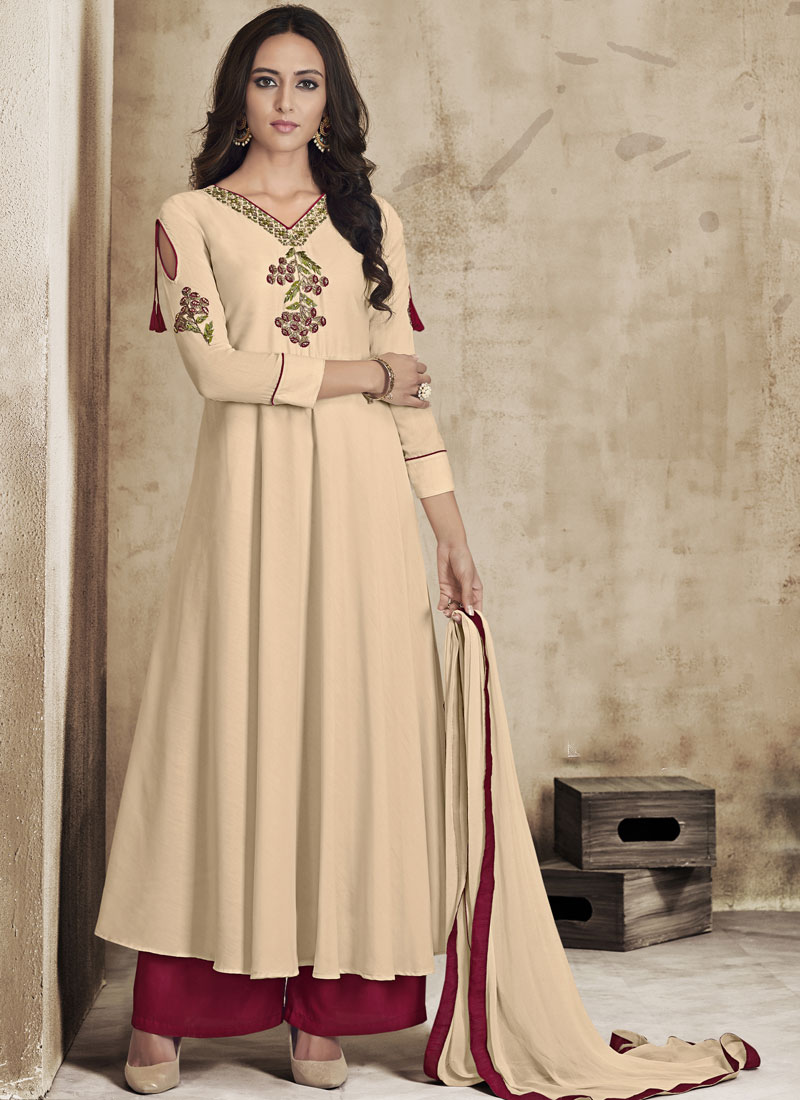 Embroidered Muslin Palazzo Salwar Kameez in Cream