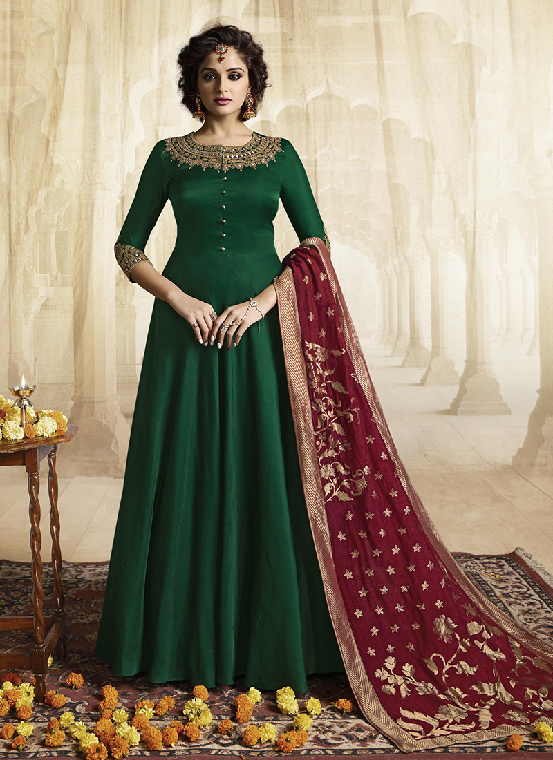 Embroidered Satin Readymade Gown  in Green