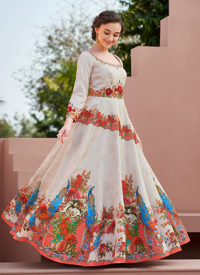 Embroidered Satin Silk Designer Gown in White