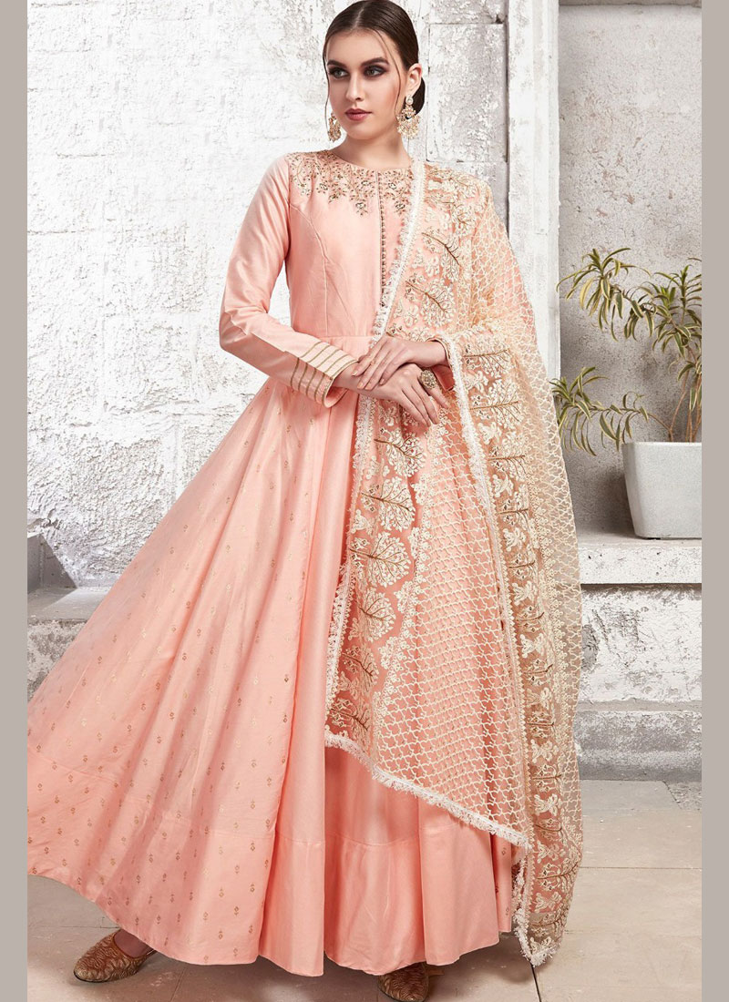 Embroidered Satin Trendy Gown in Pink