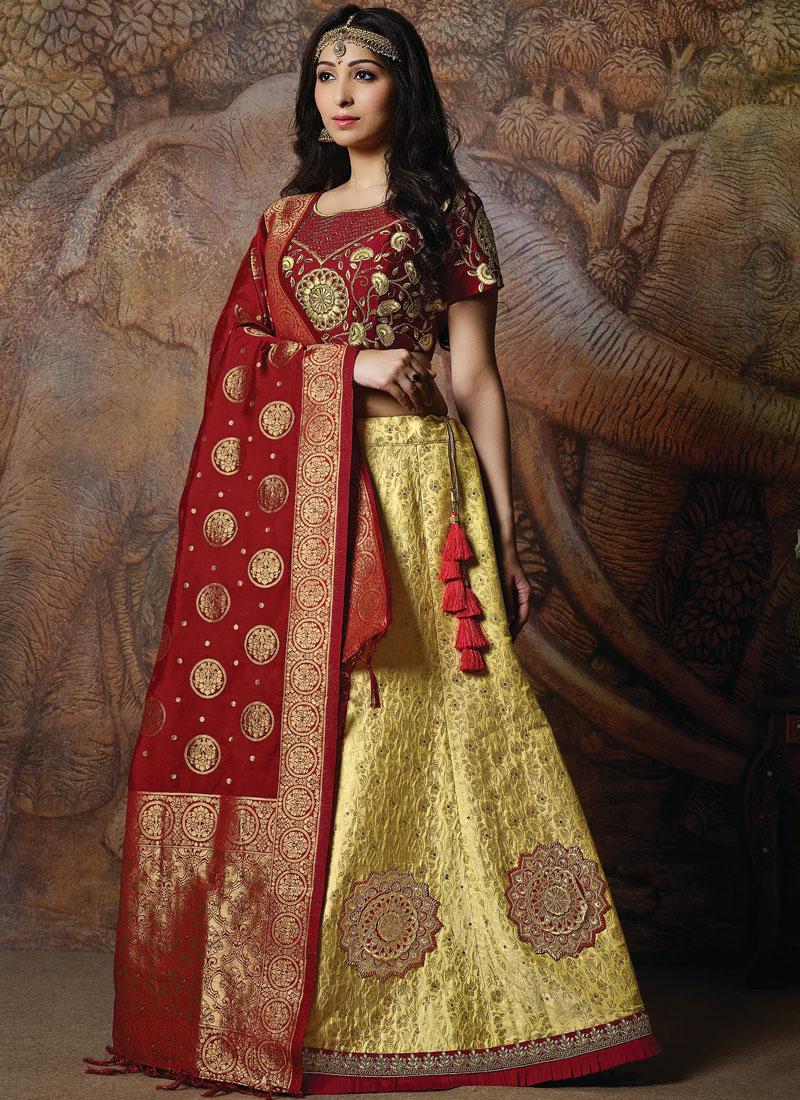 Embroidered Silk Designer Lehenga Choli in Yellow