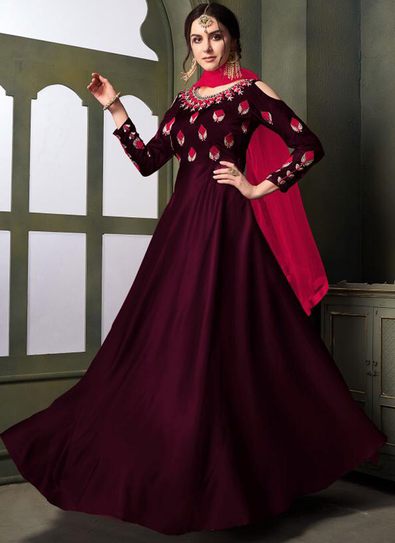Embroidered Tafeta Silk Designer Gown in Magenta