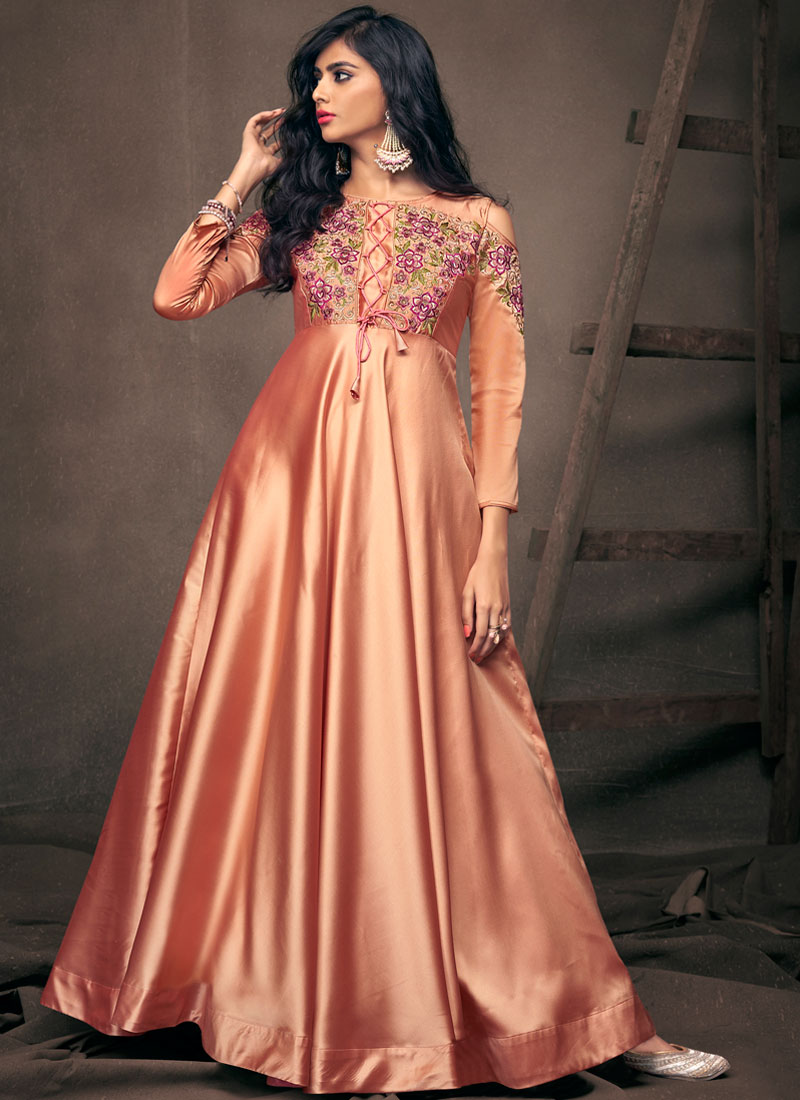 Embroidered Tafeta Silk Readymade Gown  in Peach