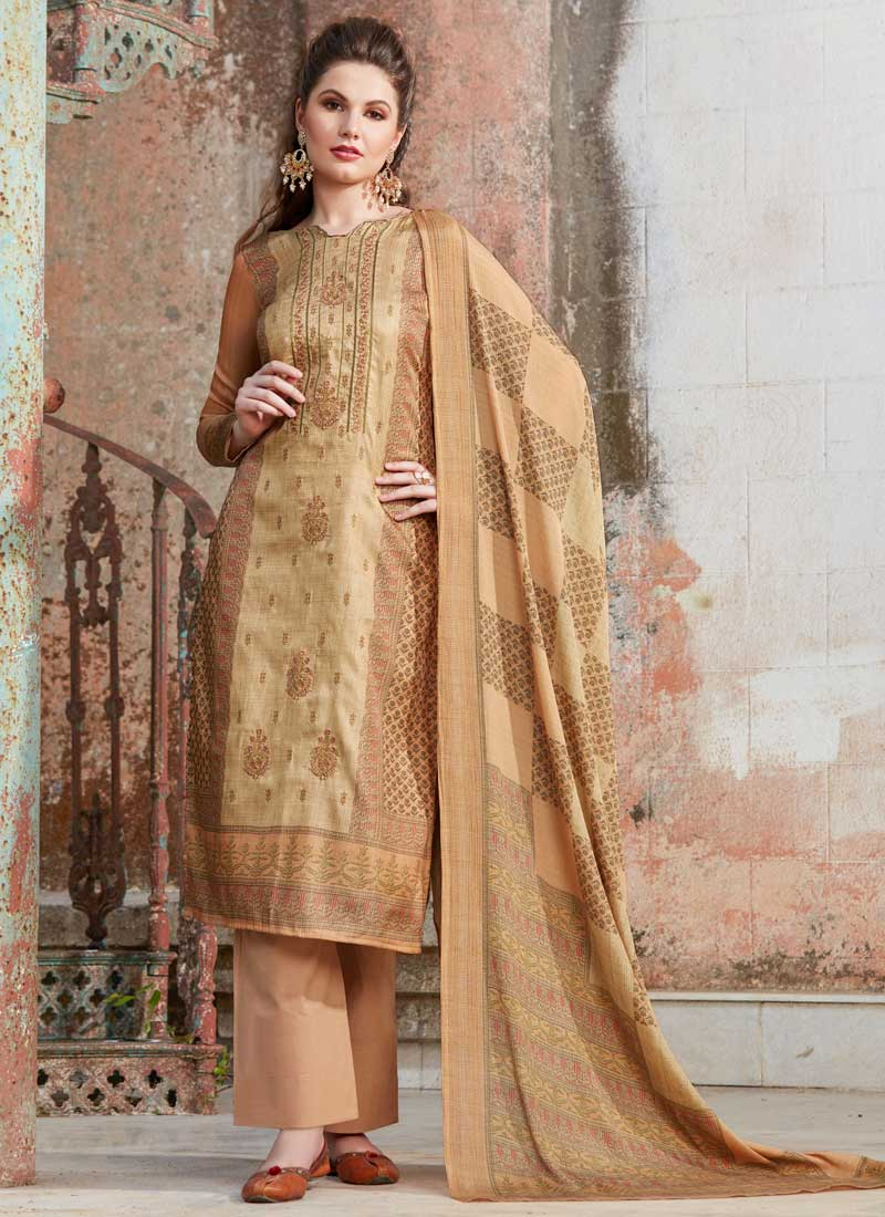 b03e357d1b Embroidered Tussar Silk Designer Palazzo Suit in Beige. Hover to zoom