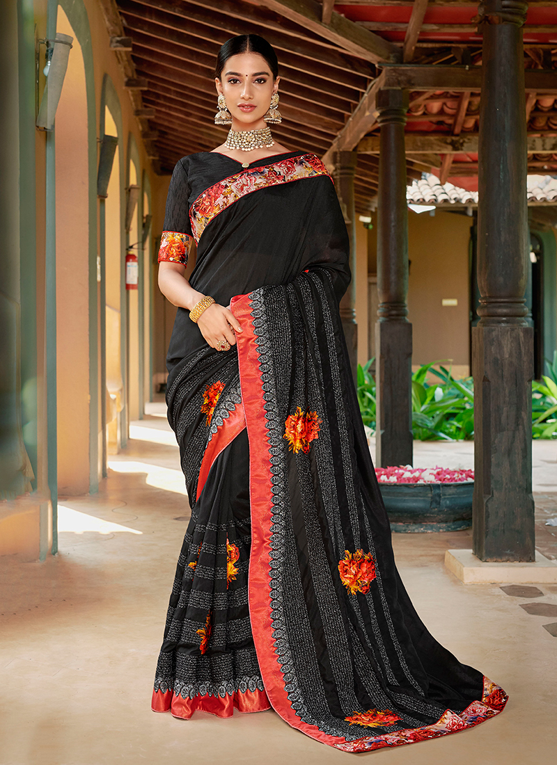 Enchanting Black Mehndi Trendy Saree
