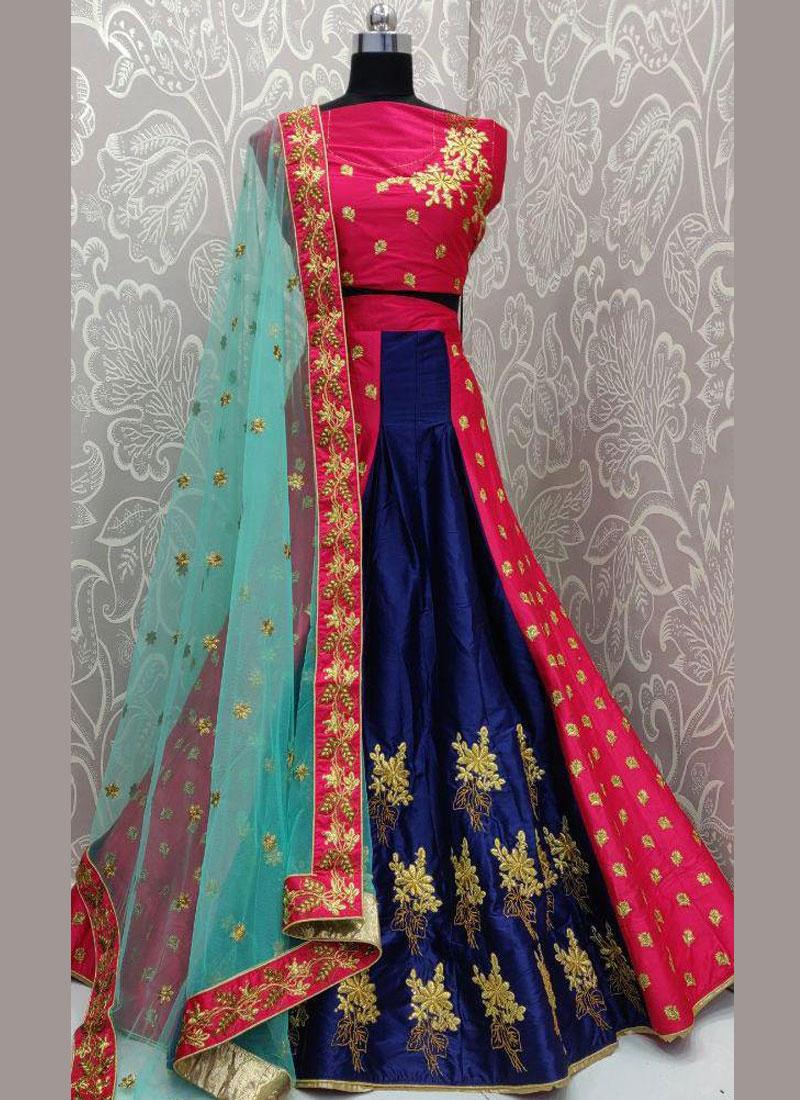 Engrossing Embroidered Art Silk Lehenga Choli for wedding