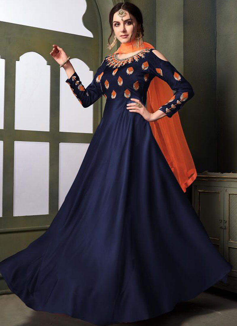 Engrossing Embroidered Tafeta Silk Trendy Gown