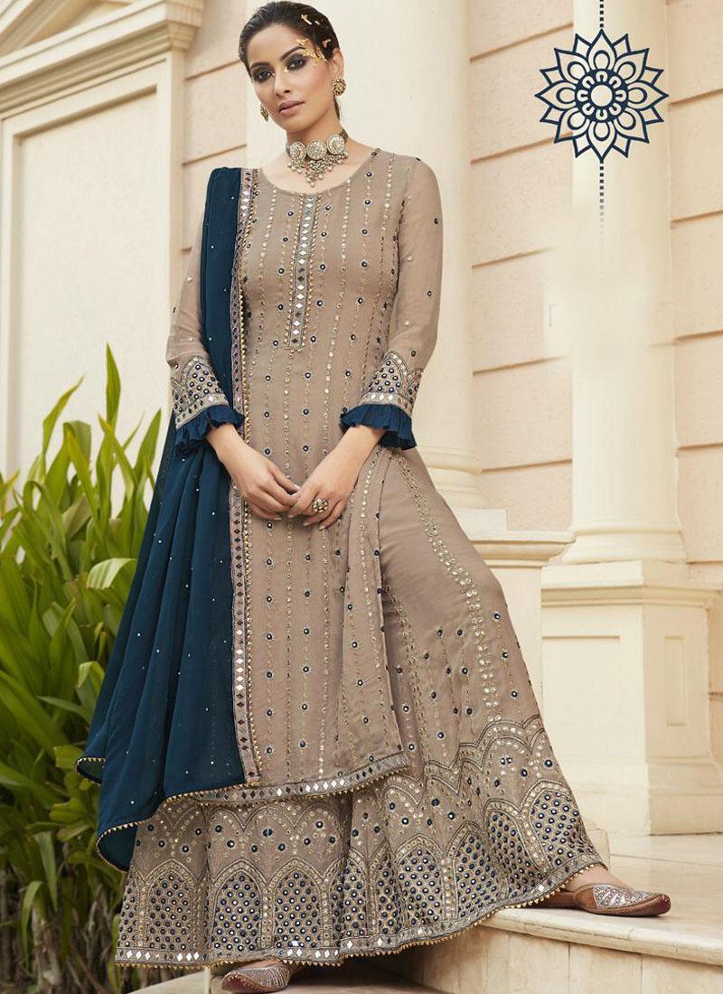 Engrossing Mirror Work Sharara Style Salwar Suit In Wheat - Navy Blue