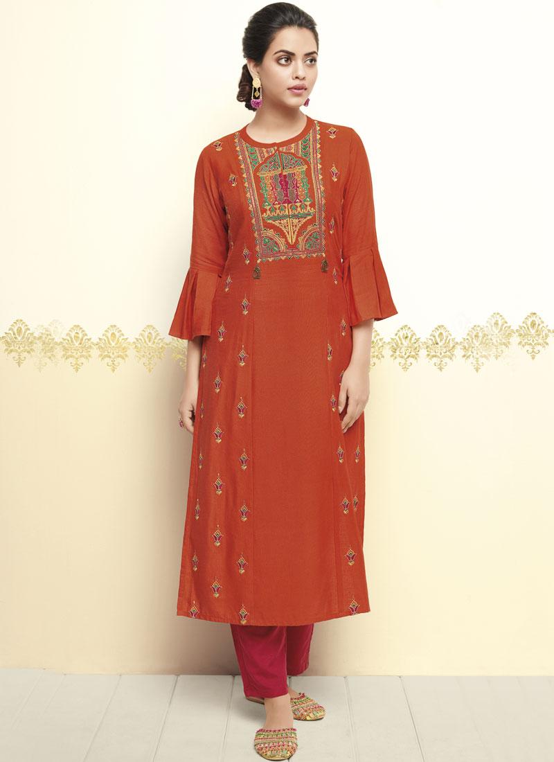 Engrossing Orange Thread Work Party Wear Kurti
