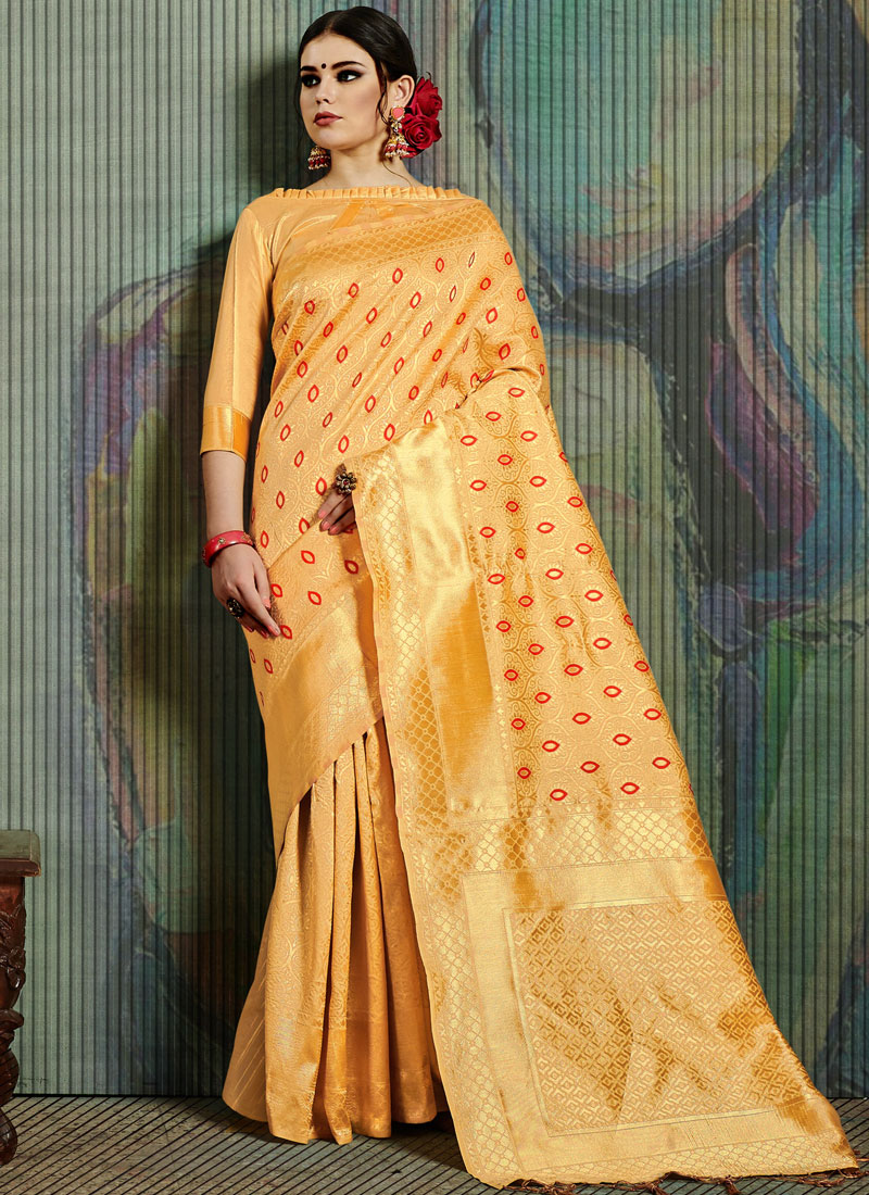 Enthralling Art Silk Weaving Yellow Traditional Saree