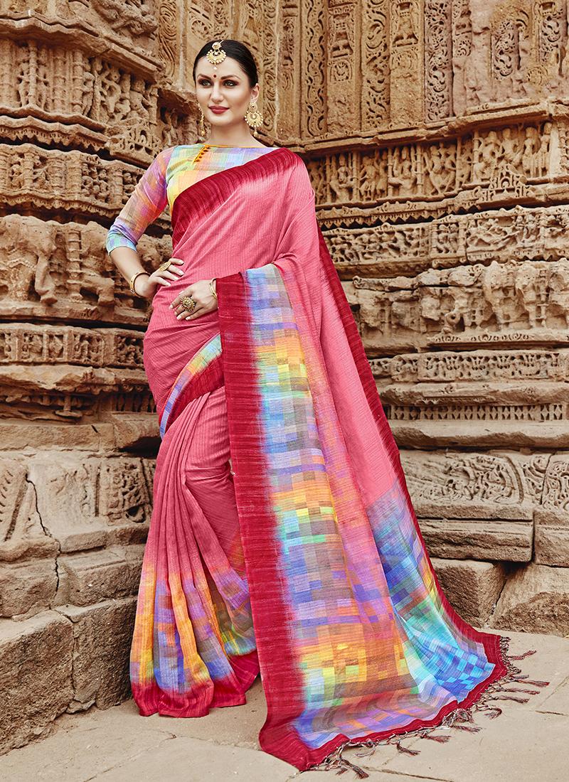 Enthralling Multi Colour Abstract Print Khadi Silk Printed Saree