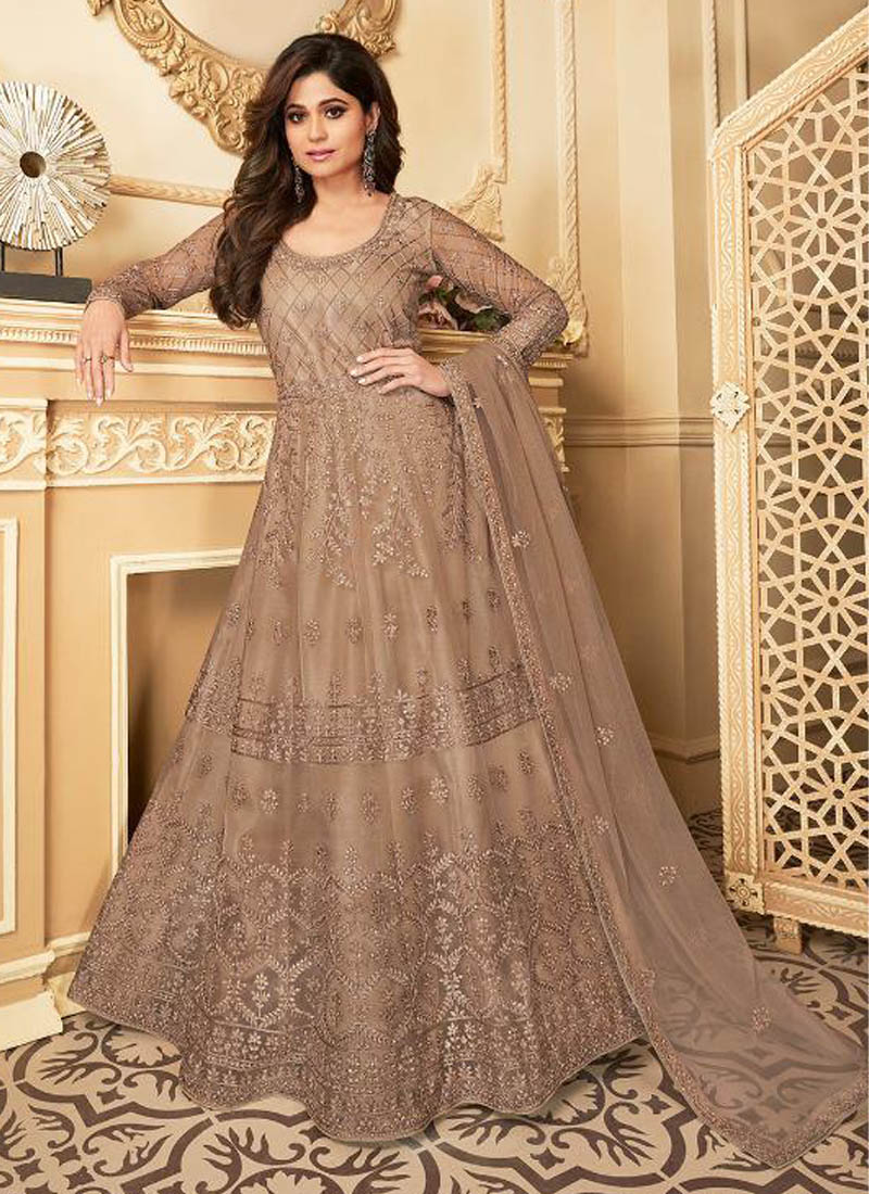 Enticing Butterfly Net Silver Embroidery Suit With Dupatta