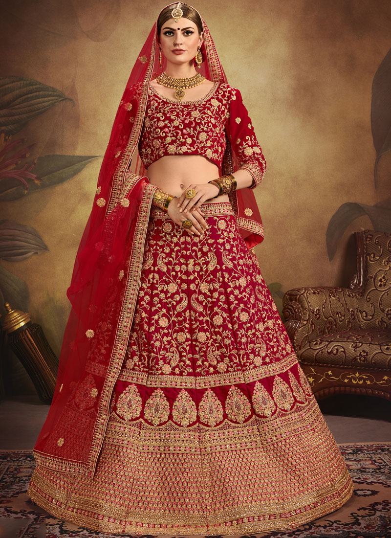 Entrancing Embroidered Velvet Lehenga Choli for bride to be