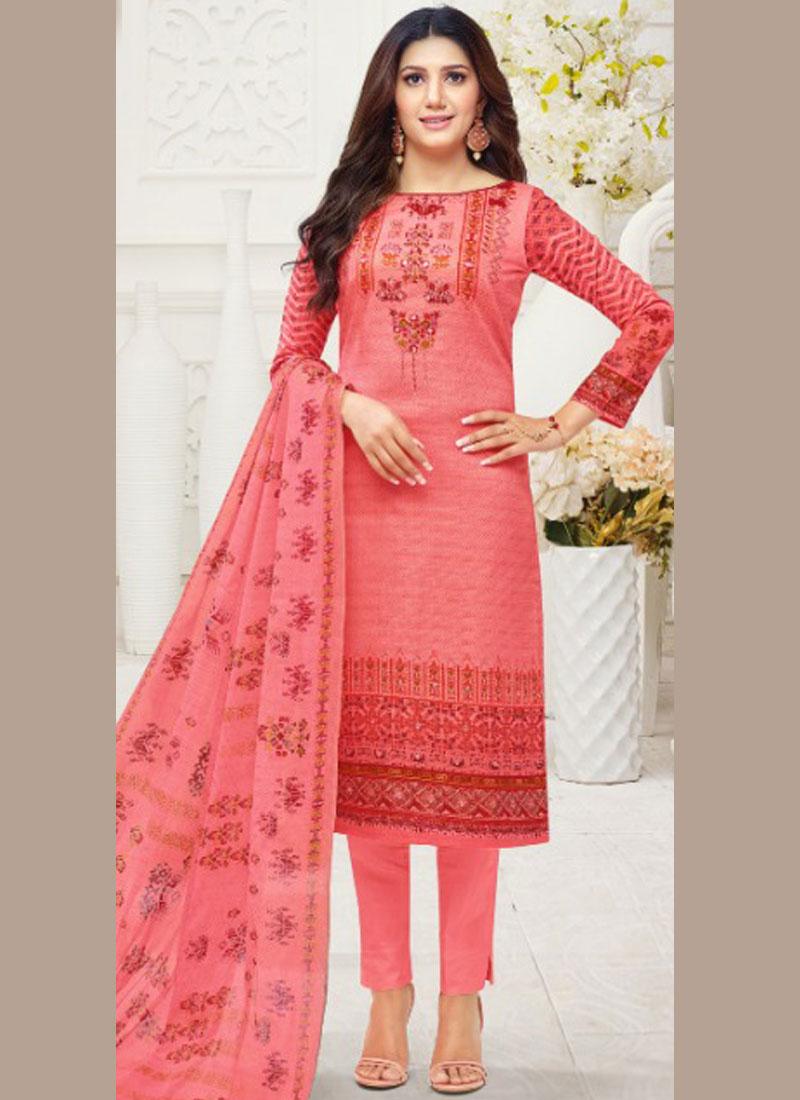Epitome Cotton Print Pink Churidar Suit
