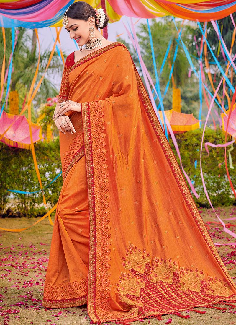Epitome Embroidered Orange Designer Saree