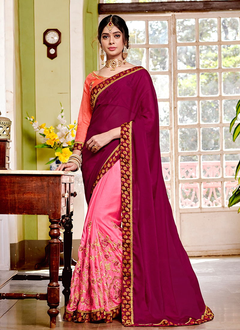 Epitome Embroidered Silk Designer Saree