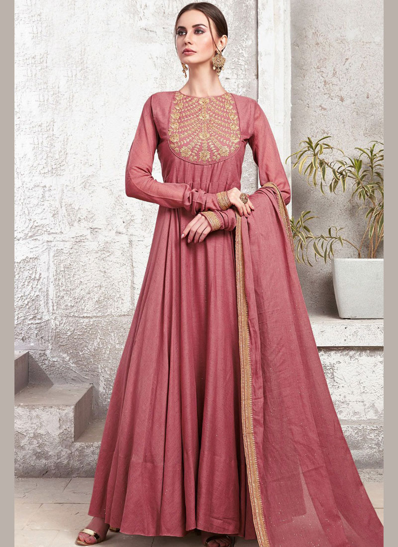 Especial Embroidered Maroon Maslin Cotton Designer Gown