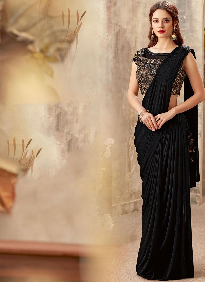 Especial Sequins Black Lycra Trendy Saree