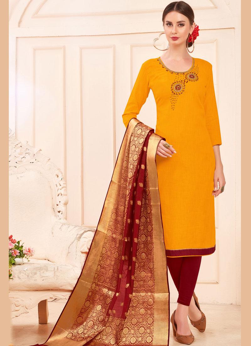 Ethnic Cotton Mustard Salwar Suit