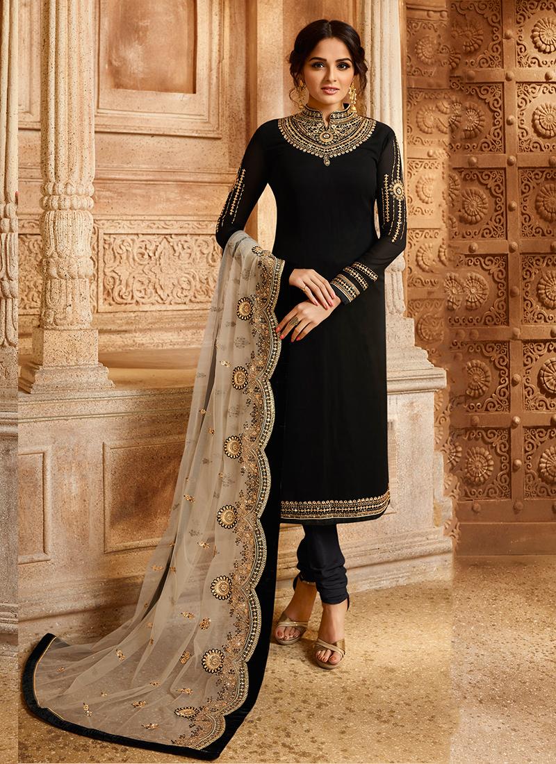 Ethnic Georgette Satin Black Designer Straight Suit