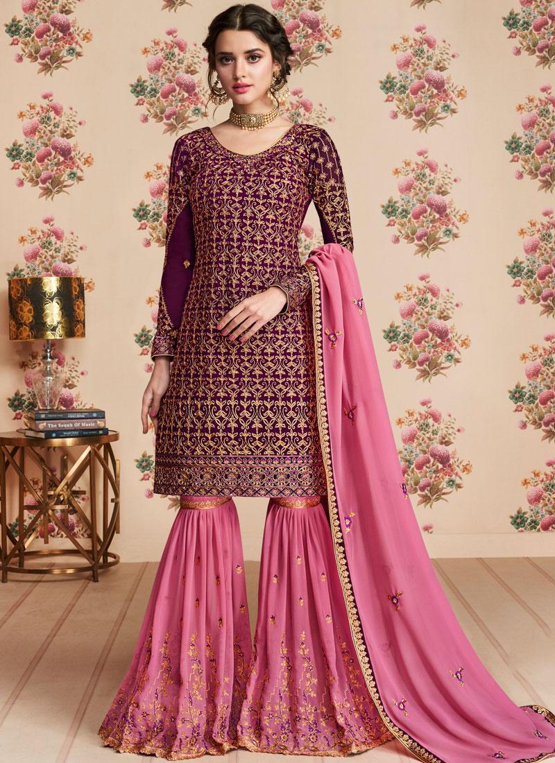 Ethnic Lace Faux Georgette Designer Pakistani Suit