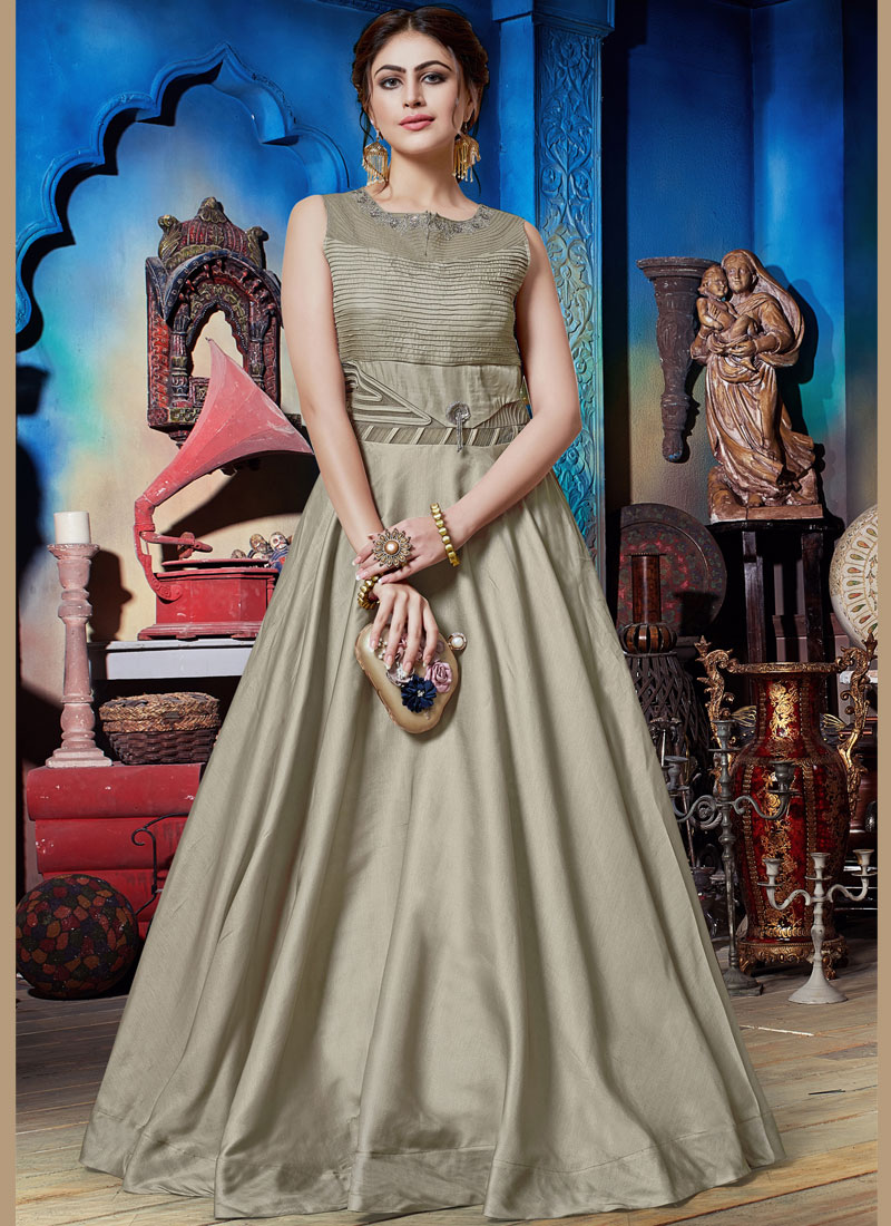 Exceeding Grey Embroidered Designer Gown