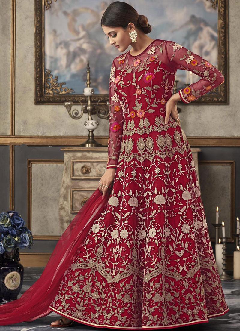 Exceeding Net Resham Red Floor Length Anarkali Suit
