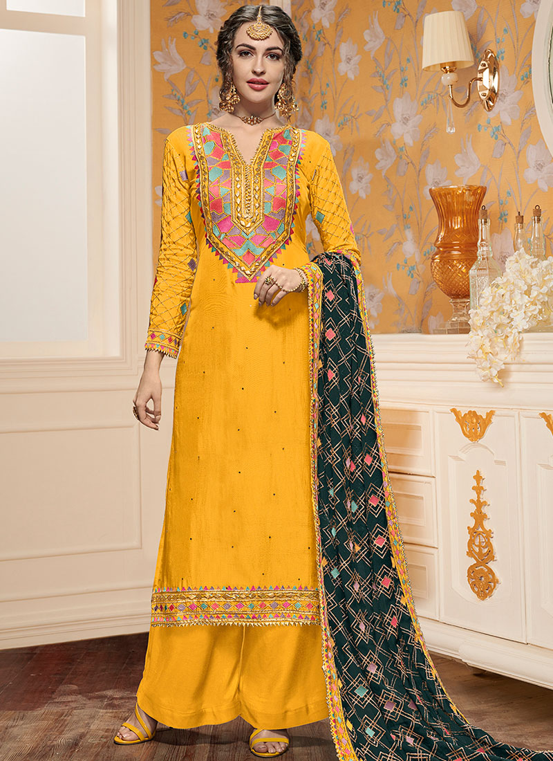 36caf9e5a3 Exceeding Yellow Ceremonial Designer Pakistani Suit. Hover to zoom