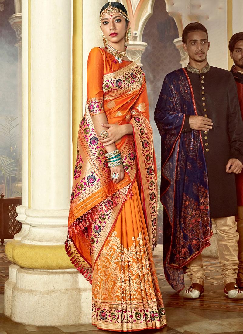Exciting Art Silk Weaving Orange Designer Saree