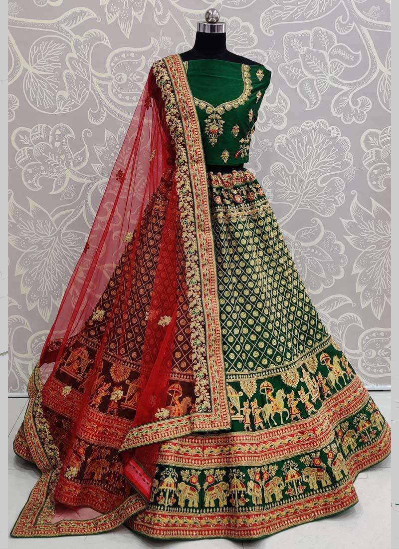 Exclusive Green Designer Bridal Lehenga Choli with Red Dupatta